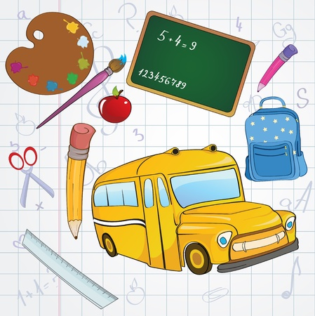 Vector illustration of cool school icons on the funky hand-drawing style background Vector