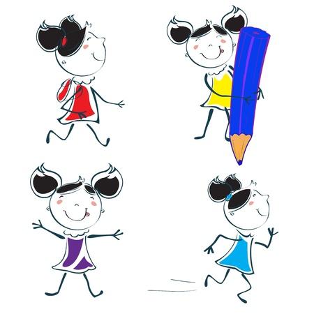 the offspring: Ilustraci�n vectorial de dibujos animados poco conjunto educativo de icono de colegiala en el estilo de dibujo de la mano de los ni�os Vectores