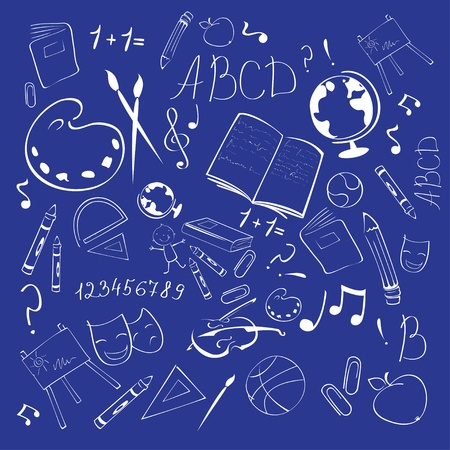 blackboard cartoon: Vector Illustration of Back to school abstract background