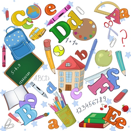 elementary: Vector illustration of cool Back to school background