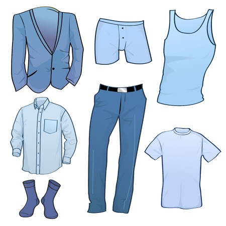 Vector illustration of cool Men clothes icon set Illustration