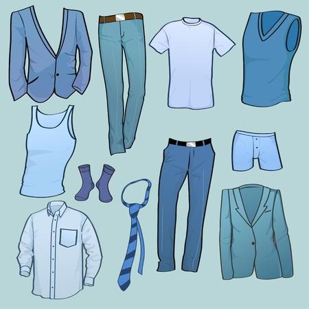 tienda de ropas: Establece la ilustraci�n vectorial de icono de ropa de hombres cool Vectores
