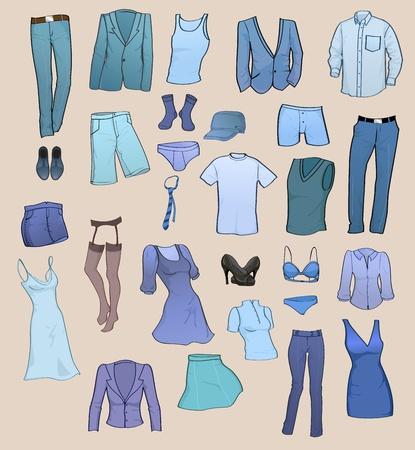 dress coat: Illustrazione vettoriale di fresco, uomini e donne vestiti icona impostare