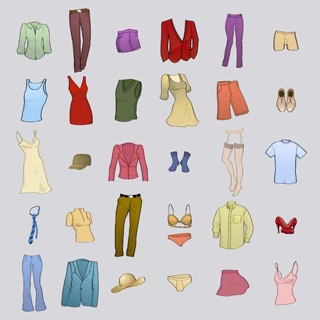 Establece la ilustración vectorial de hombres frescos y el icono de ropa de mujer