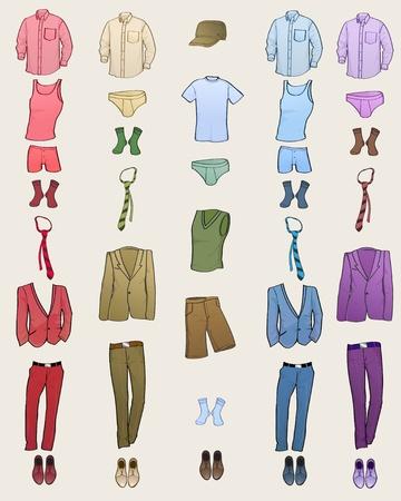 Ilustración vectorial de icono de ropa de hombres cool establece en los diferentes colores