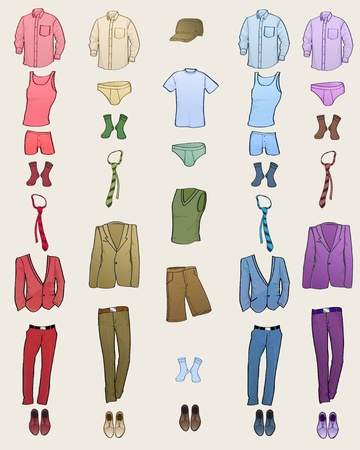 Vector illustration of cool Men clothes icon set in the different colors  Illustration