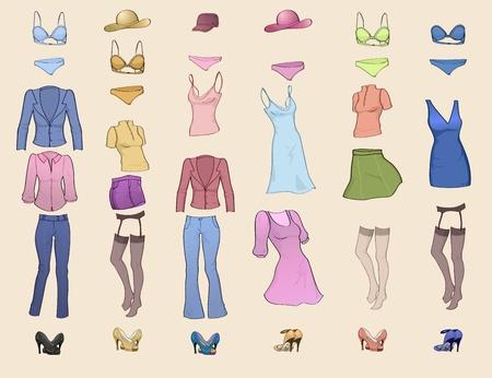 Ilustración vectorial de icono de ropa de mujer cool establece en los diferentes colores