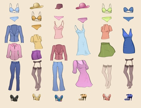 casual fashion: Vector illustration of cool women clothes icon set in the different colors  Illustration