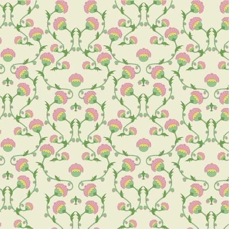rococo style: Ilustraci�n vectorial de hermoso fondo floral en estilo rococ�