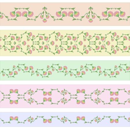 rococo style: Colecci�n de vectores de dise�os de funky frontera floral en estilo rococ� Vectores
