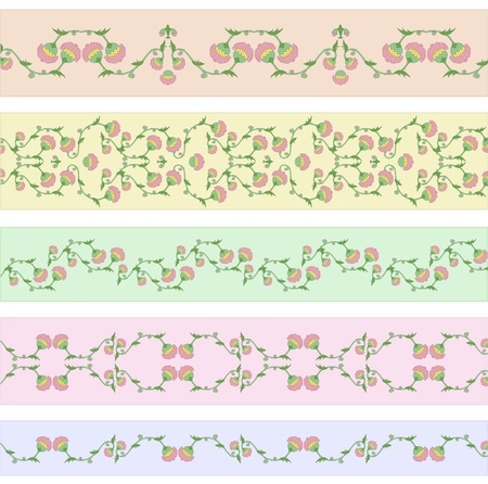 Vector collection of funky floral border designs in rococo style