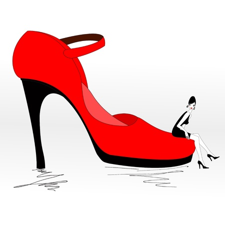 Vector Illustration of funky beautiful sexy girl with cool red Pump Shoe Vector