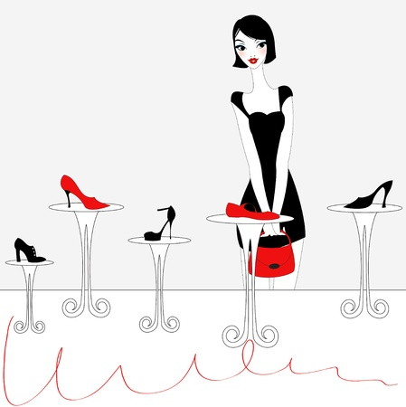 Vector Illustration of funky beautiful sexy girl shopping for a new pair of shoes Vectores