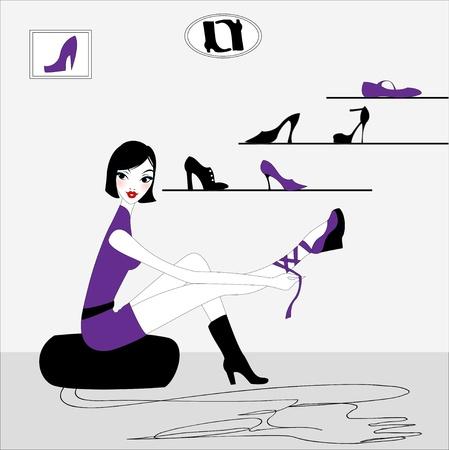 femme dressing: Illustration vectorielle de funky belle fille sexy, acheter une nouvelle paire de chaussures