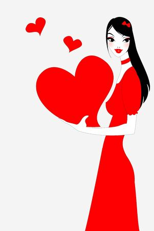 Vector illustration of funky valentines day gteeeting card with beautiful sexy girl holding big red heart Vector