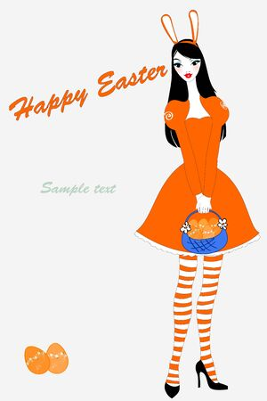 beautiful teenage girl: Vector illustration of funky easter gteeeting card with beautiful sexy girl Illustration