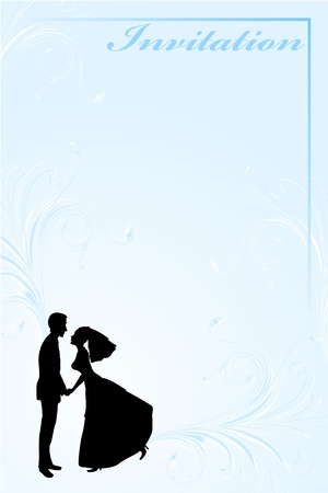 Vector Illustration of funky wedding invitation with funny bride and groom Stock Vector - 9703806
