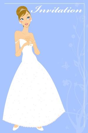 Vector Illustration of beautiful wedding invitation with preety bride. Vector