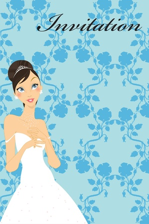 Vector Illustration of beautiful wedding invitation with preety bride. Vector
