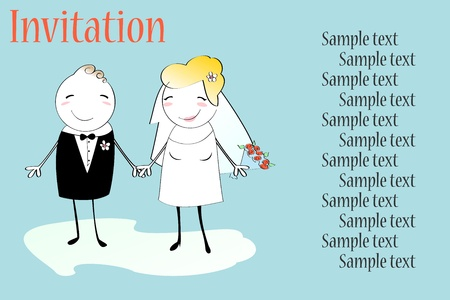 Vector Illustration of funky wedding invitation with funny bride and groom Vector
