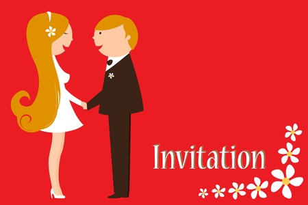 Vector Illustration of funky wedding invitation with funny bride and groom Stock Vector - 9703795