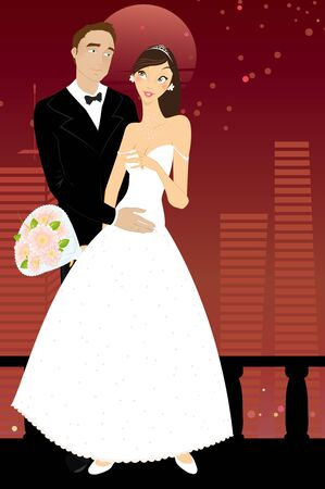 Vector illustration of cool sexy bride and groom on the urban romantic background Vector