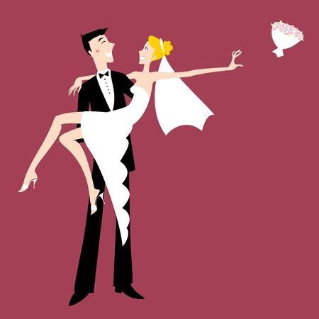 Vector illustration of funky wedding invitation with cool sexy bride and groom Vector