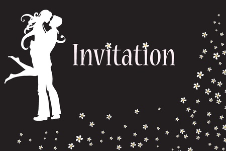 Vector illustration of funky invitation with cool young couple