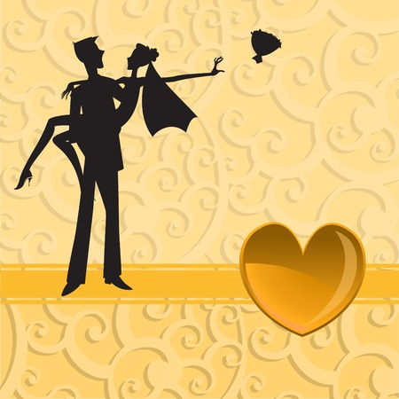 married couple: Vector illustration of funky wedding invitation with cool sexy couple