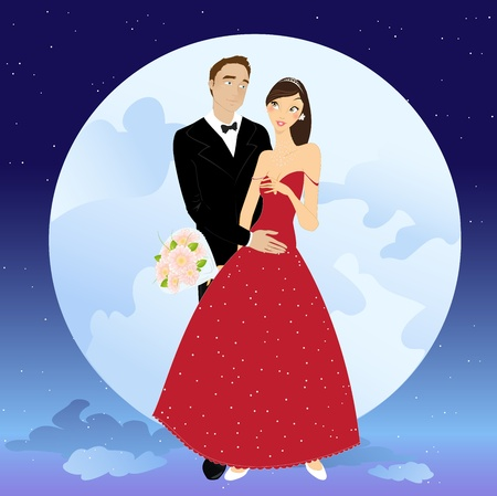 Vector illustration of beautiful couple in romantic night on the sky background with Giant full moon Vector