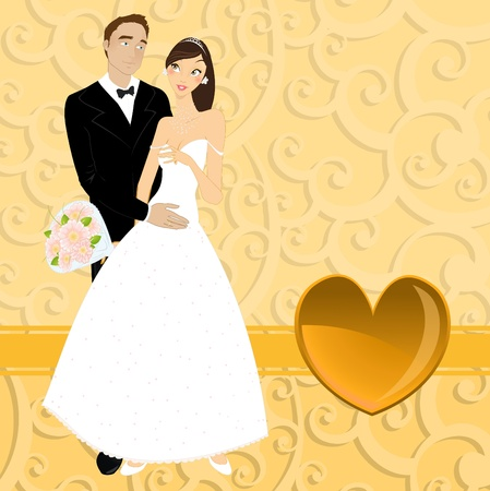 Vector illustration of funky wedding invitation with beautiful sexy couple Vector