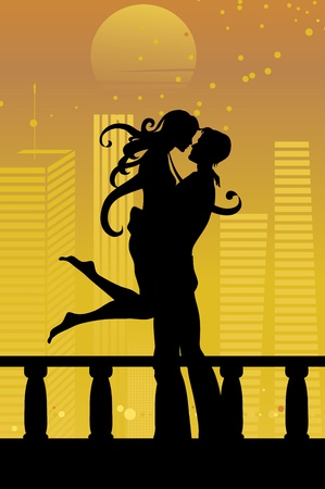 Vector illustration of cool sexy couple on the urban romantic background Vector