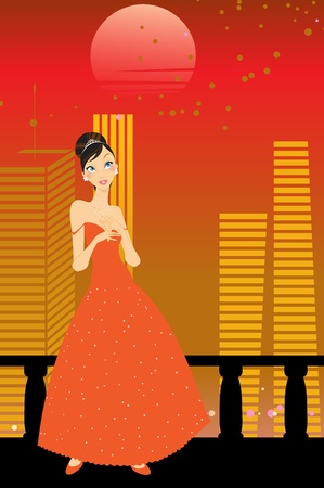 Vector Illustration of beautiful women in the evening dress on urban background Vector