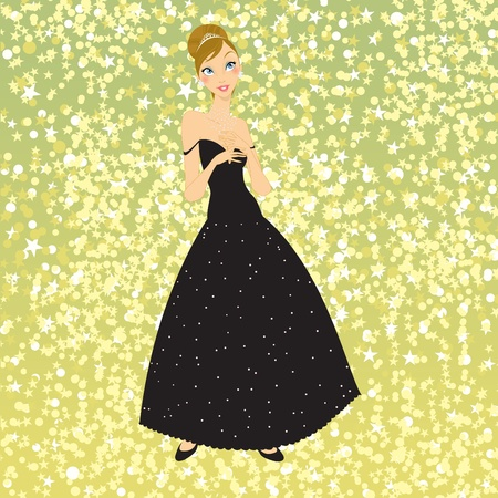 Vector Illustration of beautiful women in the evening dress Stock Vector - 9815366