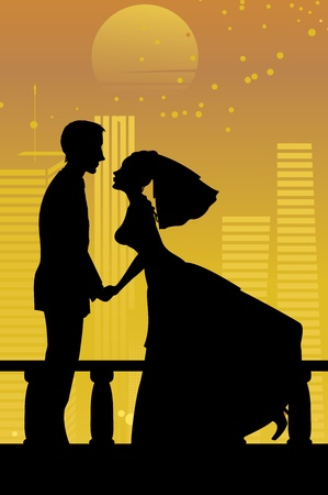 Vector illustration of cool bride and groom on the urban romantic background Stock Vector - 9815317