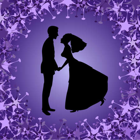 Vector illustration of beautiful bride and groom on the funky background. Ideal for wedding invitation. Vector