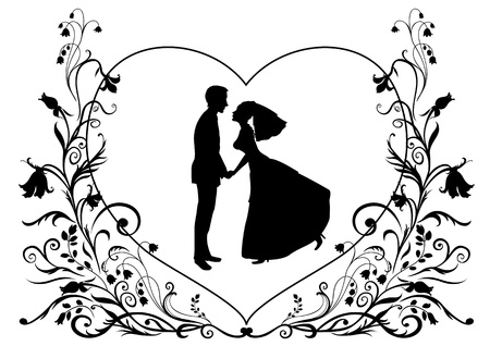 Vector illustration of bride and groom on the elegant background decorated with heart shape and flowers. Ideal for wedding invitation.
