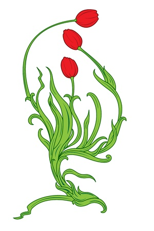 Vector illustration of beautiful single stemmed tulip