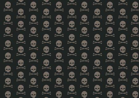 illustration of skull and bone pattern on the black background illustration