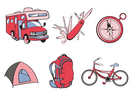 illustration of Outdoor and camping icons. Includes icons of  compass, Travel Trailer, penknife, tent, rucksack and bicycle. Stock Illustration - 9835759