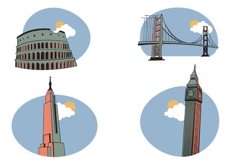 golden gate bridge: illustration of All Over the World Travel. Includes the icons of Coliseum, Golden Gate, Big Ben and Empire State Building .