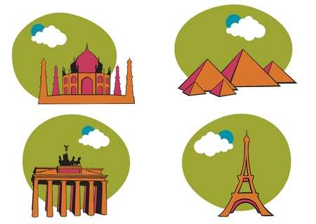 illustration of All Over the World Travel. Includes the icons of Acropolis, The peramid of Kheops, Tag Mahal and Eiffel tower. Stock Illustration - 9835667