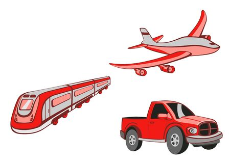 illustration of  Transport Cartoon  . Set of  Funny   red  car, train and airplane. illustration