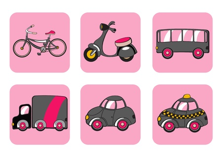 Illustration of transportation icons. Includes bicycle, minibike, bus, track, car and taxi on the pink background. illustration