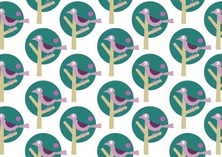 illustraition: illustraition of bird on the stylized tree. Retro wallpaper pattern.