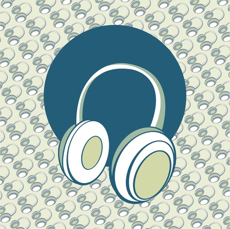 head phones: illustration of  head - phones background. Stock Photo