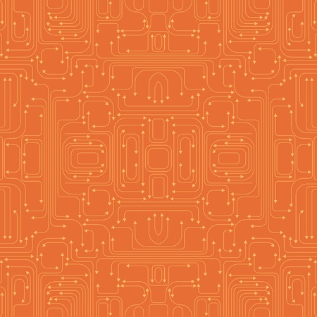 illustration of circuit board pattern includes lines and arrows on the orange background illustration