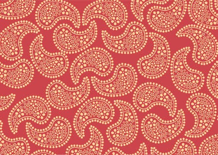 illustraition of repeating orange paisley pattern on red background photo