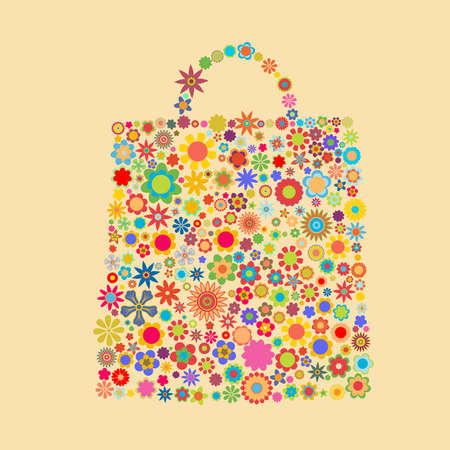 bag pattern made up of flower shapes photo
