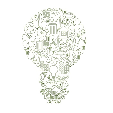 bulb shape, made from different ecological items. Stock Photo - 9960056